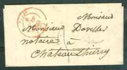 Lac Avec Timbre  à Date  Rouge Paris Type 14 En 1838 , Taxe 2 Decimes Pour Chateau Thierry   - Lm18212 - Marcofilia (sobres)