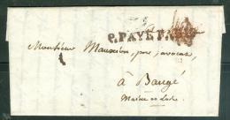 Lac De Paris AVEC MARQUE DE PORT PAYE PARIS NON SOULIGNE EN 1824 - Lm18218 - 1801-1848: Précurseurs XIX