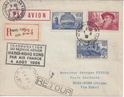 FRANCE - PARIS - 1938 - INAUGURATION DU SERVICE AERIEN HANOI - HONG KONG , PAR AIR FRANCE , DU 4 AOUT 38 , EN RECOMMANDE - Air Post