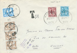 297/21 -- Taxation De PREOS - Lettre Au Tarif De 12 F Par TP PREO 1984 - Taxée 21 Francs ( Dont Bande De 3 ) à COUILLET - Precancels