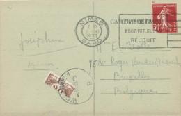 299/21 -- Timbre-Taxe COUPE EN DEUX Horizontalement Sur Carte-Vue TP Semeuse Déf. NIMES 1938 Vers WOLUWE - Taxes