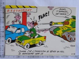Carte Commerciale DEROCHE 94 Charenton - Illustrateur Tienno, Humour, Alors T'avances Patate, Voiture Stationnement Char - Other Illustrators