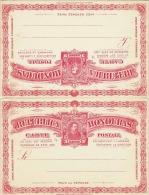 HONDURAS 190?, 2 X 3 Centavos Ganzsache ** Auf Doppelkarte - Honduras