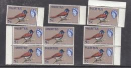 MAURITIUS: 1966, 5c Paradise  Flycatcher, Sideway Wmk, MN ** X 9 - Mauritius (...-1967)