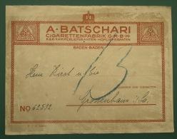 étiquette De Colis CIGARETTEN FABRIK BATSCHARI BADEN BADEN Vers Grossenhain 1916 - Documents