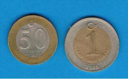 TUQUIA -  50 Kurus + 1 Lira  BIMETAL - Turquia