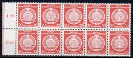 1955, Fond Central Pointillé, Y&T No. 11, En Bloc De 10 TP's Neuf ** ,   Lot 39244 - Service