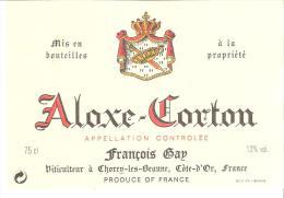 Etiquette De BOURGOGNE ALOXE-CORTON AC François Gap - Bourgogne