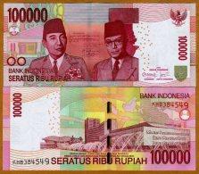 O)2012 INDONESIA,BANK NOTE, 100000 100,000 RUPIAH NEW 2011-2012 SUKARNO HATA MAP NICE CIRCULATED - Indonesia