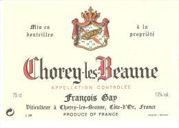 Etiquette De BOURGOGNE CHOREY-les-BEAUNE AC François Gap - Bourgogne