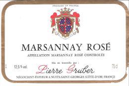 Etiquette De BOURGOGNE  MARSANNAY  ROSE AC Pierre Gruber. - Bourgogne