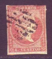 ESPAÑA 1855 - Isabel II Sello Usado 4 Cu. Edifil Nº 44 - Usati