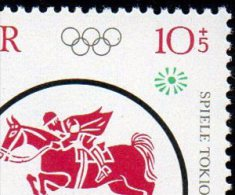 Springreiter Marathon-Lauf 1964 DDR 1040/43 ZD Variante S53+ I ** 22€ Olympiade Tokio Olympic Sport Se-tenant Of Germany - Erreurs De Gravure