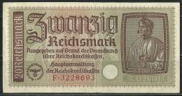 Deutschland Occupation Bank Note 20 Reichsmark Serie F - [ 9] Territoires Allemands Occupés