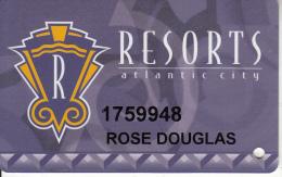 USA - Resorts Atlantic City, Casino Card, Used - Cartes De Casino