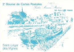 TRANSPORT BATEAU PENICHE 2  SALON CARTO  SAINT LEGER LES VIGNES 1986  ILL. JANE ROUX - Hausboote