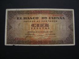 PICK 113 100 PESETAS BURGOS 20 MAI 1938ECHANCRURE DANS LA MARGE MAIS TB+ - 100 Pesetas
