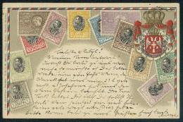 SRBIJA - Carte Philatelique Depose. D.R.G.M. 222744 Ottmar Zieher, Munich (Baviere) --- Old Postcard, Traveled - Timbres (représentations)
