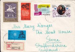 Poland Registered Einschreiben Recommandée POZNAN 1973 Cover Brief To STONE England Astronom Kopenikus Stamps (2 Scans) - Briefe U. Dokumente