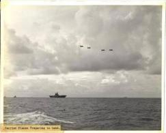 WWII  Battle Of Coral Sea Photo(Original), Carrier Planes Preparing To Land - War, Military