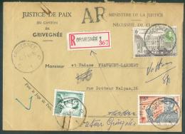 Lettre Recommandée Avec Accusé De Réception (AR) Obl. Sc GRIVEGNEE 20-2-1964 Vers Vottem (biffé) + (verso) étiquettes Ab - Brieven En Documenten