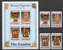 Gambia (1991) Yv. 1044/47 + Bf. 115  / Hummel Figurines - Porselein