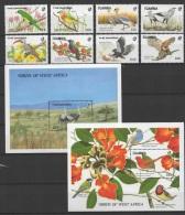 Gambia (1989) Yv. 781/84 + 793/96 + Bf. 62 + Bf. 65  /   Birds - Oiseaux - Vogel - Eagle - Flowers - Blumen - Fleurs - Otros