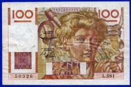 BILLET BANQUE DE FRANCE MONNAIE TTB+ 100 FRANCS JEUNE PAYSAN TYPE 1945 DU 7.1.1954 N° 50326 L.581 - NOTRE SITE Serbon63 - 1871-1952 Anciens Francs Circulés Au XXème