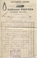 FACTURE SELLERIE BOURRELLERIE HARNACHEMENT - ALPHONSE FONTES - LAURENS (HERAULT) LE 12 SEPTEMBRE 1920 - Petits Métiers