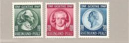 FrzMi.Nr.46-48/ , Rhld.-Pfalz, Goethe 1949 (30 Pfg. Wert Mit  Mini-Haftspur) * - Französische Zone