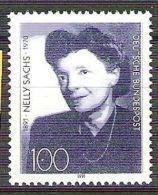 RFA - 1991 - YT N°1407 - Nelly Sachs, écrivain Et Poète - [7] Federal Republic