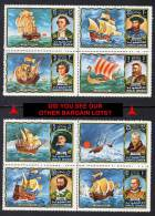 UMM AL QIWAIN = EXPLORERS MNH X2 BLOCKS  COLUMBUS,COOK, SAIL SHIPS, VIKINGS, POLAR (4D0155) - Polar Ships & Icebreakers