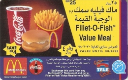 TARJETA DE QATAR DE COCA-COLA Y MacDonalds (COKE) GLOBALONE - Publicidad