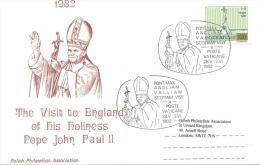 1982. VATICAN  POSTCARD  POPE JOHN PAUL II PASTORAL VISIT TO SCOTLAND - FDC