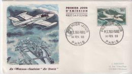 """Fdc 1959 Le Morane Saulnier """"Le Paris"""" Poste Aérienne Avion - 1950-1959"""