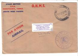 VER1394A - TONGA 1972 , Lettera Di Servizio Per Gli USA - Tonga (1970-...)