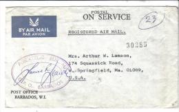 VER1400A - BARBADOS , Servizio Raccomandata Per Gli USA Del 1971 - Barbados (1966-...)