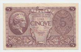ITALY 5 Lire 1944 AXF P 31b 31 B - [ 1] …-1946 : Kingdom