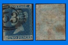GB 1841-0004, Imperf 2d Blue Star Lettered K-K, Close To Large Margins, Used - Oblitérés
