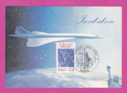 Liberté 1886-1986 1er Jour 4.7.86 Paris Sur Carte D´invitation Club Aérophilatélique Concorde - Marcophilie (Lettres)