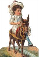 Chromo Découpis Ancien Equitation Fillette En Amazone Sur Son Mulet Ou Son âne - Children