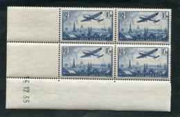 =*= Poste Aérienne 9 Bloc De 4 Coin Daté Très Beau D´aspect Neuf Gomme Défectueuse (humidité) =*= - 1927-1959 Mint/hinged