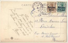 3pk361: Fantasiekaartje Als Nieuwjaarskaart : BZ2+BZ11: RANSART 31 XII 1917 > ANDERLUES 3 I 18 Met Censuur - WW I