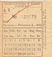 PARTINICO / PALERMO  - Autoservizi Galati & Valenza -  BIGLIETTO  _ Lire 400 - Europa