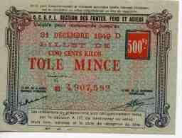 France OCRPI Billet Matière 500 Kilos Tole Mince 31 Décembre 1949 Neuf - Notgeld