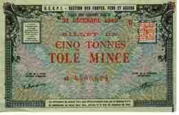 France OCRPI Billet Matière 5 Tonnes Tole Mince 31 Décembre 1949 Neuf - Notgeld