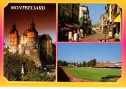 C P M------25---MONTBELIARD --MULTIVUES----le Stade Bonal Le Chateau La Rue Piétonne--2  Scans - Fussball