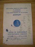 """Carta Assorbente/buvard """"Cassa Di Risparmio Delle Province Lombarde - MILANO 1939"""" - Banca & Assicurazione"""