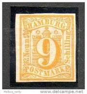 HAMBURG   1859   (*) Y&T N° 7   -   W  Ondulations - Belles Marges - Hambourg
