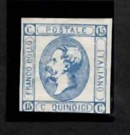 ITALY 15c. Imperf Definitive Issue (open C) 1863 Mounted Mint Cut Close At Base No Gum - 1861-78 Vittorio Emanuele II